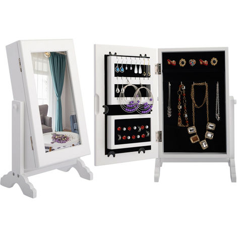 Jewelry Jewellery Cabinet Organizer Armoire Storage Box Countertop Stand&Mirror
