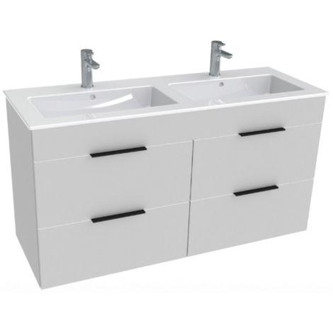 Jika Armoire Jika CUBE 4 tiroirs double vasque 120 × 43cm, blanc