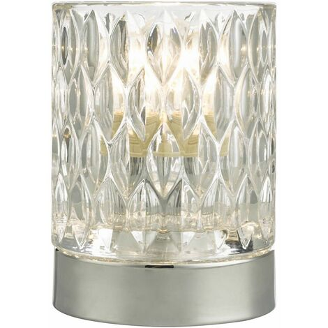 Jill Polished Chrome and Glass Table Lamp 1 Light