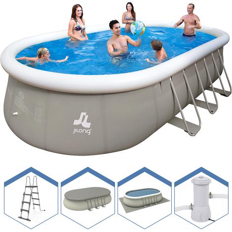 jilong piscine ovale hors sol structure 610x360x122cm. Black Bedroom Furniture Sets. Home Design Ideas