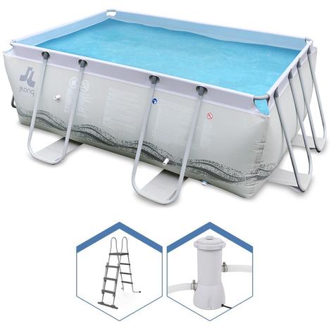 Jilong Rechteckiger Aufstell-Pool 290x200H99cm + Leiter und Pumpe 17725EU