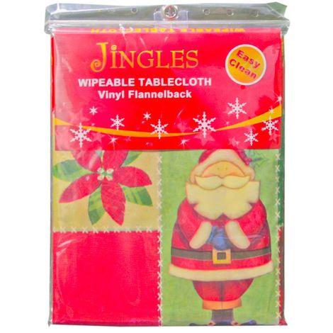 Jingles Wipeable Vinyl Christmas Easy Clean Table Cloth - Various Sizes