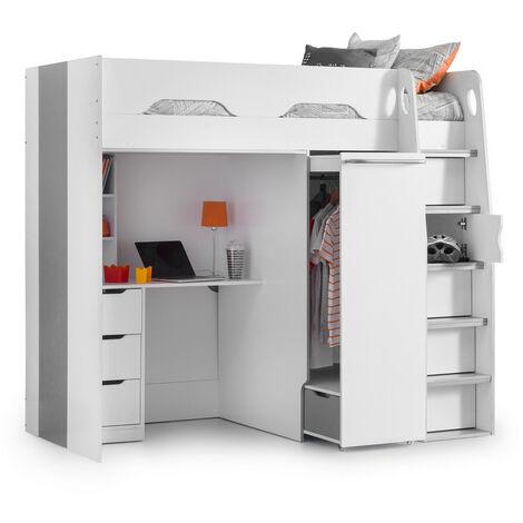 Joanna 3ft Single 90 x 190 WHITE & SILVER High Sleeper Bed Frame