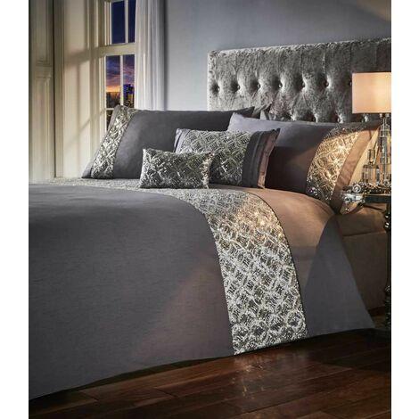 Jocasta Super King Size Duvet Cover Set Floral Sequin Silver Bedding Quilt Bed Set