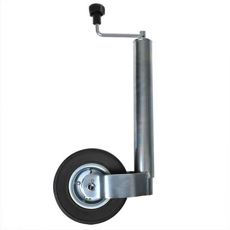 Jockey wheel 60mm metal rim with solid rubber tyre 220x65mm