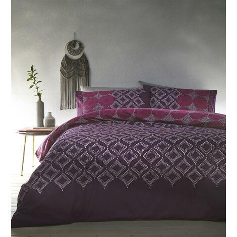 Joel Plum Double Duvet Cover Set Bedding Purple Spotted Diamond Pattern
