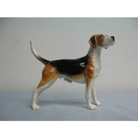 John Beswick Foxhound Figurine, faïence, marron/noir/blanc