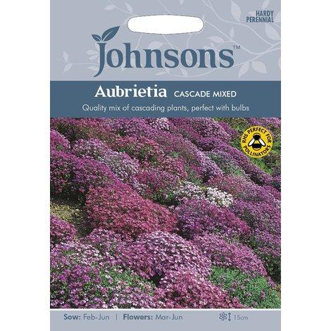 Johnsons Seeds - Pictorial Pack - Flower - Aubrietia Cascade Mixed - 200 Seeds