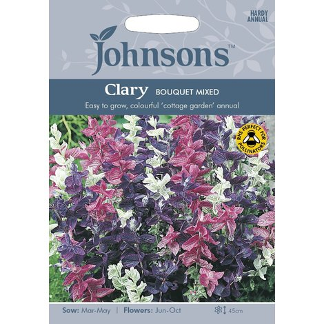 Johnsons Seeds - Pictorial Pack - Flower - Clary Bouquet Mixed - 300 Seeds