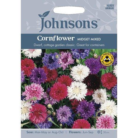 Johnsons Seeds - Pictorial Pack - Flower - Cornflower Midget Mixed - 150 Seeds