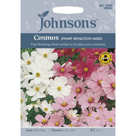 Johnsons Seeds - Pictorial Pack - Flower - Cosmos Dwarf Sensation Mixed - 60 Seeds
