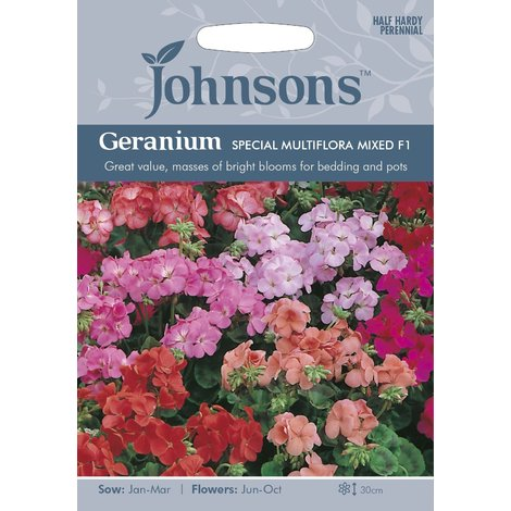 Johnsons Seeds - Pictorial Pack - Flower - Geranium Special Multiflora Mixed F1 - 10 Seeds
