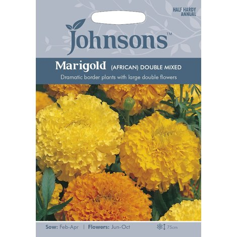 Johnsons Seeds - Pictorial Pack - Flower - Marigold (African) Double Mixed - 100 Seeds