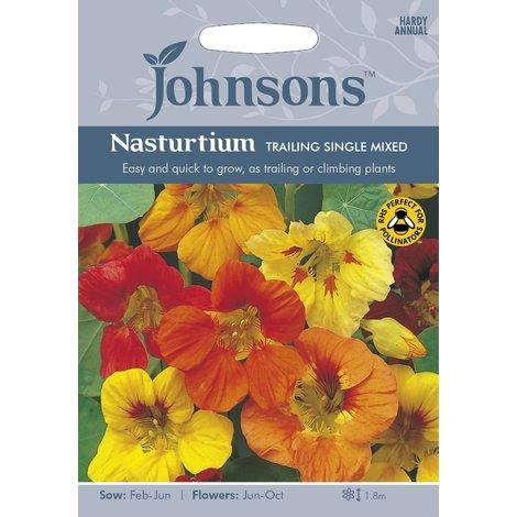 Johnsons Seeds - Pictorial Pack - Flower - Nasturtium Trailing Single Mixed - 35 Seeds