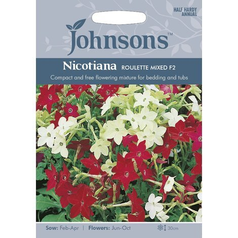 Johnsons Seeds - Pictorial Pack - Flower - Nicotiana Roulette Mixed F2 - 200 Seeds