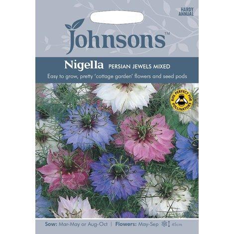Johnsons Seeds - Pictorial Pack - Flower - Nigella Love in a Mist Persian Jewels Mixed - 500 Seeds