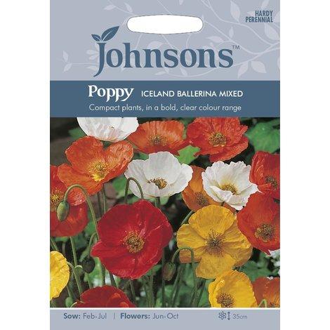 Johnsons Seeds - Pictorial Pack - Flower - Poppy Iceland Ballerina Mixed - 400 Seeds