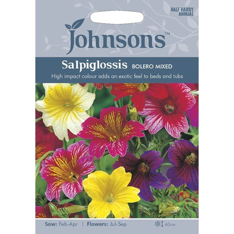 Johnsons Seeds - Pictorial Pack - Flower - Salpiglossis Bolero Mixed - 750 Seeds