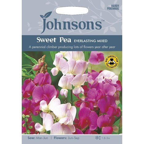 Johnsons Seeds - Pictorial Pack - Flower - Sweet Pea Everlasting Mixed - 20 Seeds