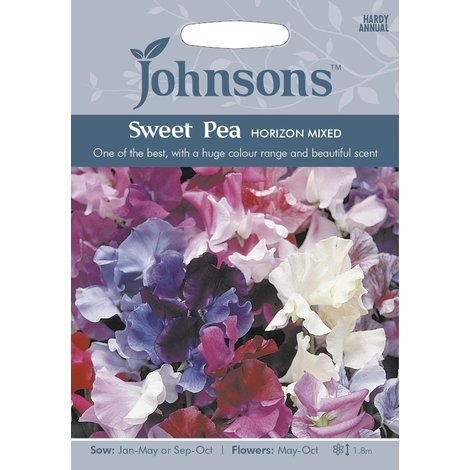 Johnsons Seeds - Pictorial Pack - Flower - Sweet Pea Horizon Mixed - 25 Seeds