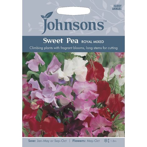 Johnsons Seeds - Pictorial Pack - Flower - Sweet Pea Royal Mixed - 35 Seeds