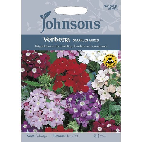 Johnsons Seeds - Pictorial Pack - Flower - Verbena Sparkles Mixed - 125 Seeds