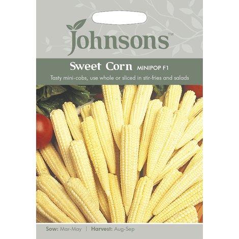 Johnsons Seeds Sweet Corn Minipop F1-50 Seeds Pictorial Pack Vegetable