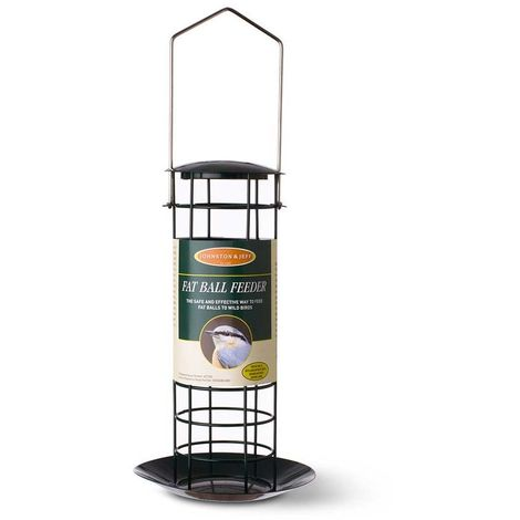 Johnston and Jeff Wild Bird Small Fat Ball Feeder with Tray (One Size) (Black)