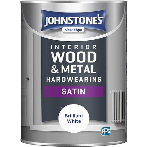 Johnstones 1.25 Litre Hardwearing Satin - Brilliant White