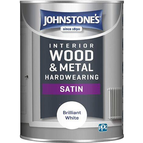 Johnstones 1.25 Litre Hardwearing Satin - Brilliant White