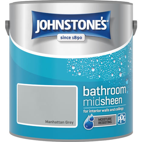 Johnstone's 2.5 Litre Bathroom Paint - Manhattan Grey