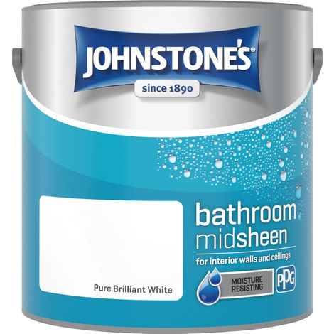 Johnstone's 2.5 Litre Bathroom Paint - Pure Brilliant White