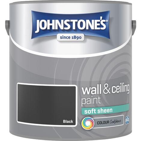 Johnstone's 2.5 Litre Soft Sheen Emulsion Paint - Black