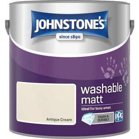 Johnstone's 2.5 Litre Washable Matt Emulsion Paint - Antique Cream