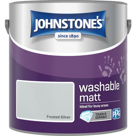 Johnstone's 2.5 Litre Washable Matt Emulsion Paint - Frosted Silver