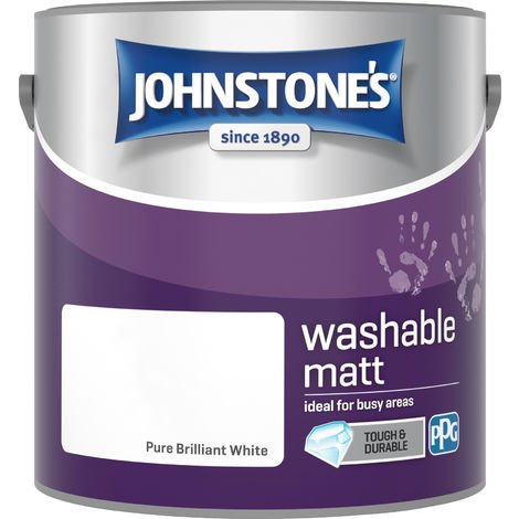 Johnstone's 2.5 Litre Washable Matt Emulsion Paint - Pure Brilliant White