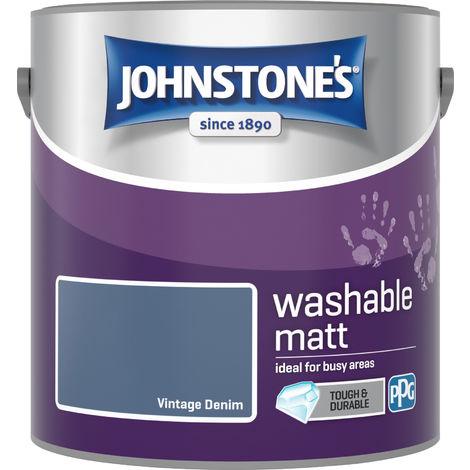 Johnstone's 2.5 Litre Washable Matt Emulsion Paint - Vintage Denim