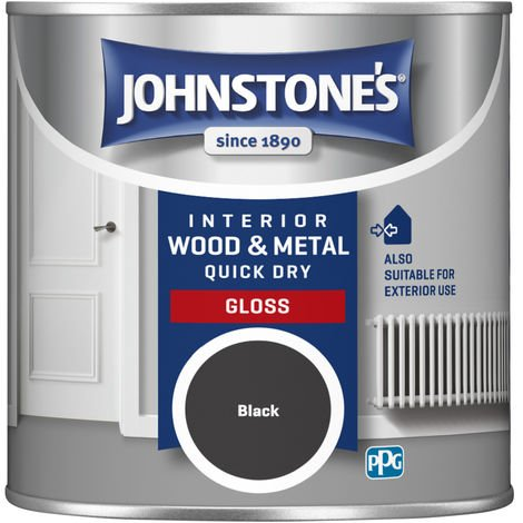 Johnstones 250ml Quick Dry Gloss Paint - Black