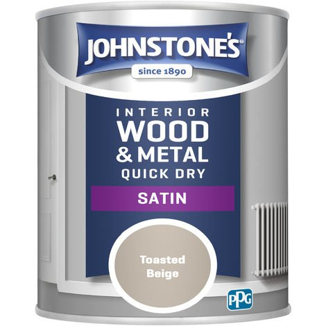Johnstone's 303917 750ml One Coat Quick Dry Satin Paint - Toasted Beige