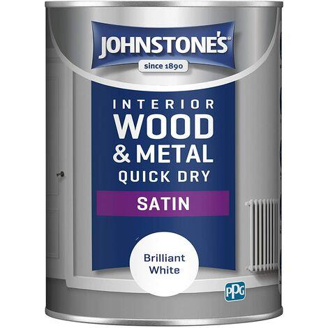 Johnstone's 303929 1.25 Litre One Coat Quick Dry Satin Paint - Brilliant White