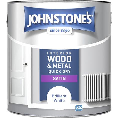 Johnstone's 303930 2.5 Litre One Coat Quick Dry Satin Paint - Brilliant White