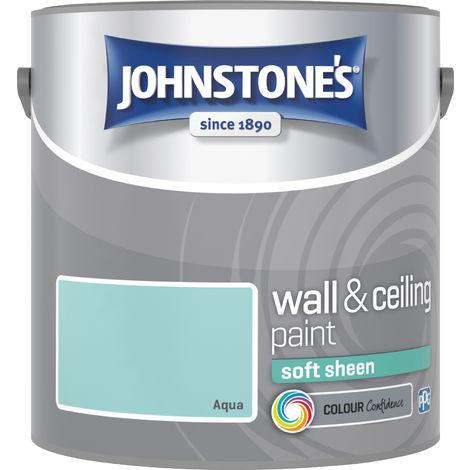 Johnstone's 303950 2.5 Litre Soft Sheen Emulsion Paint - Aqua