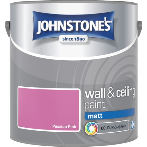 Johnstone's 304028 2.5 Litre Matt Emulsion Paint - Passion Pink