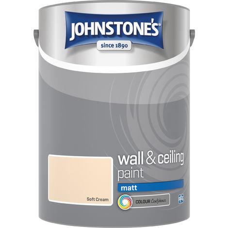 Johnstone's 304058 5 Litre Matt Emulsion Paint - Soft Cream