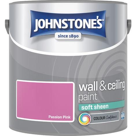 Johnstone's 304153 2.5 Litre Soft Sheen Emulsion Paint - Passion Pink