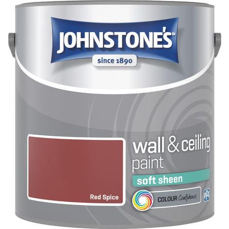 Johnstone's 304155 2.5 Litre Soft Sheen Emulsion Paint - Red Spice