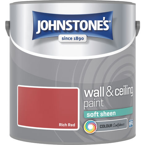 Johnstone's 304156 2.5 Litre Soft Sheen Emulsion Paint - Rich Red