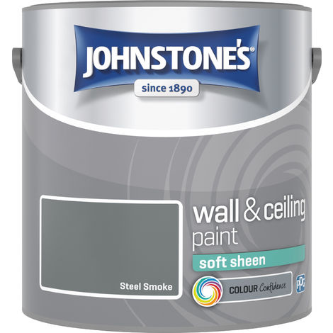Johnstone's 305986 2.5 Litre Soft Sheen Emulsion Paint - Steel Smoke