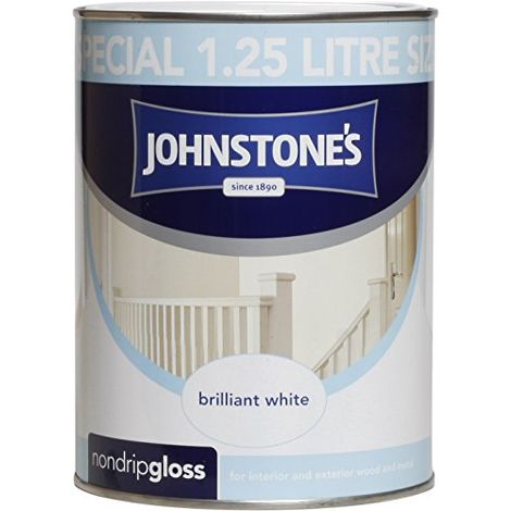 Johnstone's 306534 1.25 Litre Non Drip Gloss Paint - Brilliant White