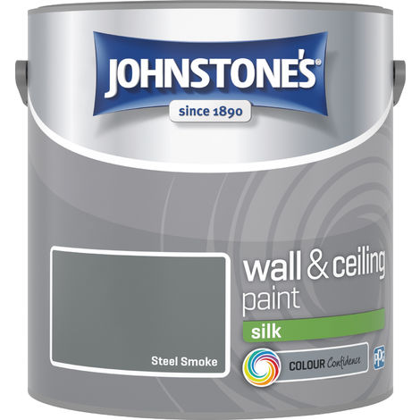 Johnstone's 306587 2.5 Litre Silk Emulsion Paint - Steel Smoke